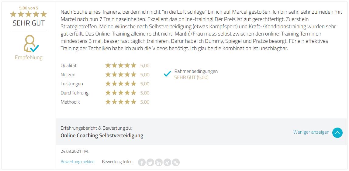 Bewertung Marcel Descy Selbstverteidigung